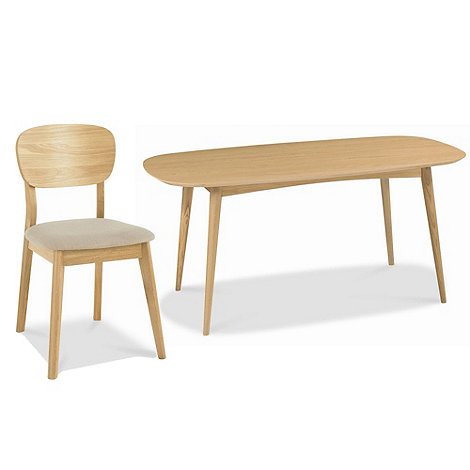 Debenhams - American oak finished +Saturn+ fixed-top table and 4 chairs