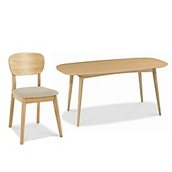 Debenhams - American oak finished 'Saturn' fixed-top table and 6 chairs