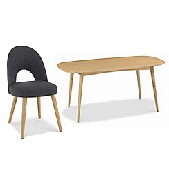 Debenhams - American oak finished 'Saturn' fixed-top table and choice of 4 fabric chairs