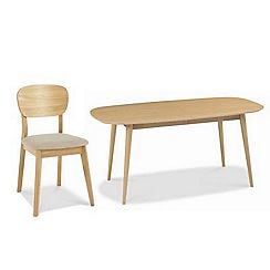 Debenhams - American oak finished 'Saturn' fixed-top table with 4 chairs and choice of 2 fabric chairs