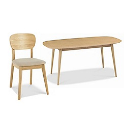 Debenhams - American oak finished 'Saturn' extending table and 4 chairs