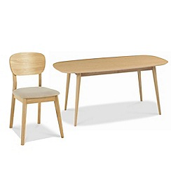 Debenhams - American oak finished 'Saturn' extending table and 6 chairs