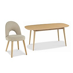 Debenhams - American oak finished 'Saturn' extending table and choice of 4 fabric chairs