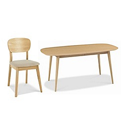 Debenhams - American oak finished 'Saturn' extending table with 4 chairs and choice of 2 fabric chairs