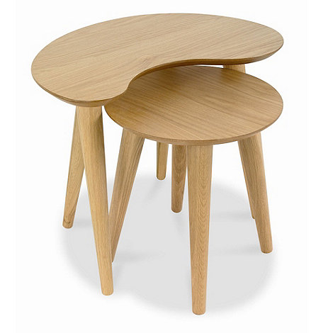 Debenhams - American oak finished +Saturn+ nest of 2 tables