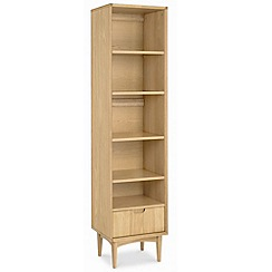 Debenhams - American oak finished 'Saturn' narrow bookcase with single drawer