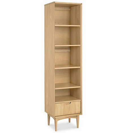 Debenhams - American oak finished +Saturn+ narrow bookcase with single drawer