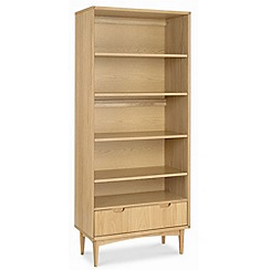 Debenhams - American oak finished 'Saturn' wide bookcase with single drawer