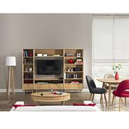 American oak veneer 'Saturn' entertainment and bookcase unit