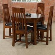 Acacia wood 'Elba' round extending dining table and four chairs