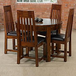 Debenhams - Acacia 'Elba' round extending table and 4 slatted back chairs