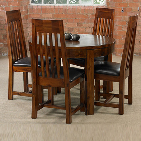 Debenhams - Acacia +Elba+ round extending table and 4 slatted back chairs