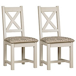 Debenhams - Pair of painted 'Wadebridge' dining chairs with printed fabric seats