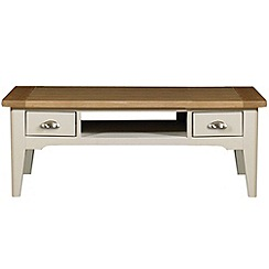 Debenhams - Oak and painted 'Wadebridge' coffee table with 2 drawers