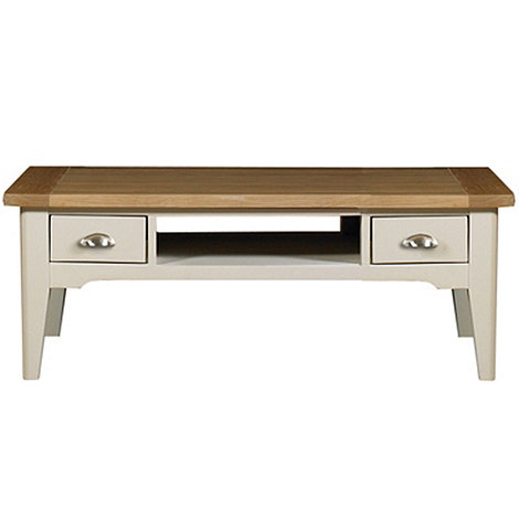 Debenhams - Oak and painted +Wadebridge+ coffee table with 2 drawers