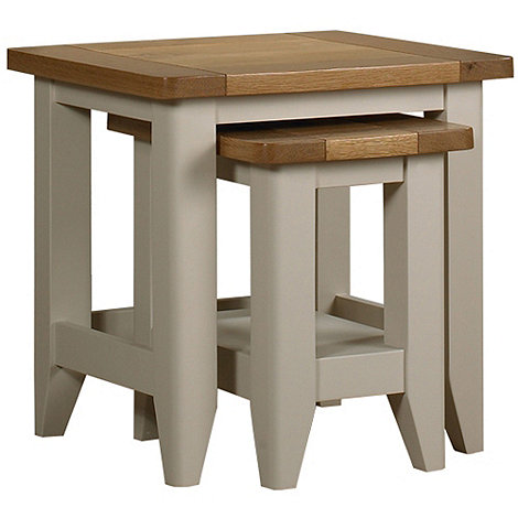Debenhams - Oak and painted +Wadebridge+ nest of 2 tables