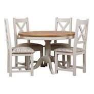 Oak and painted 'Wadebridge' round table and set of 4 chairs with printed script fabric seats