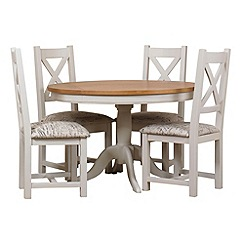 Debenhams - Oak and painted 'Wadebridge' fixed-top table and 4 chairs with printed fabric seats