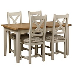 Debenhams - Oak and painted 'Wadebridge' extending table and 4 chairs with printed fabric seats