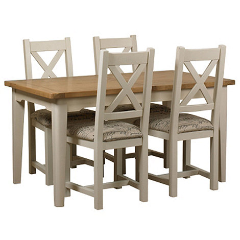 Debenhams - Oak and painted +Wadebridge+ small extending table and 4 chairs with printed fabric seats