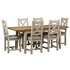 Debenhams - Oak and painted 'Wadebridge' extending table and 6 chairs with printed fabric seats