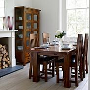 Rich Dark Acacia 'Elba' small extending dining table with four slatted chairs