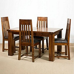 Debenhams - Acacia 'Elba' small extending table and 4 slatted back chairs