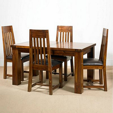 Debenhams - Acacia +Elba+ small extending table and 4 slatted back chairs