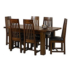 Debenhams - Acacia 'Elba' large extending table and 6 slatted back chairs