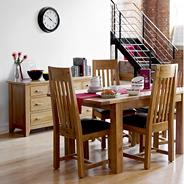 Oak 'Rushmore' small extendable table & four slatted chairs