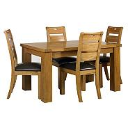 Oak 'Rushmore' small extendable table & four ladderback chairs set