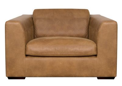 Tan leather Paris snuggler chair with dark feet