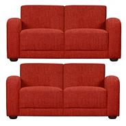 Red 'Savoy' set of two medium sofas with dark feet