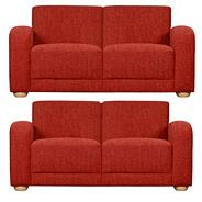 Red 'Savoy' set of two medium sofas with light feet