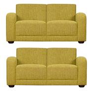 Set of 2 medium lime green 'Savoy' sofas with dark feet