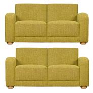 Set of 2 medium lime green 'Savoy' sofas with light feet