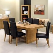 Oak 'Alpha' medium table and six upholstered chairs