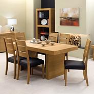 Oak 'Alpha' medium table and six slat chairs