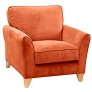Orange 'Fyfield' armchair with light wood feet