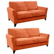 Set of large and medium orange 'Fyfield' sofas with dark wood feet
