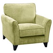 Lime green 'Fyfield' armchair with dark wood feet
