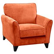 Orange 'Fyfield' armchair with dark wood feet