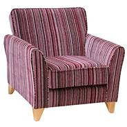 Raspberry 'Fyfield Salsa' accent chair with light feet