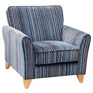 Blue striped 'Fyfield Salsa' armchair with light wood feet