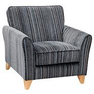 Grey striped 'Fyfield Salsa' armchair with light wood feet