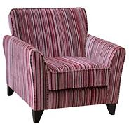 Raspberry 'Fyfield Salsa' accent chair with dark feet