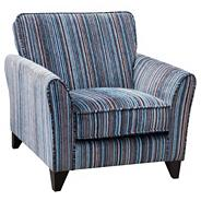 Blue striped 'Fyfield Salsa' armchair with dark wood feet