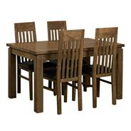 Acacia 'Lund' medium extending table and 4 slatted chairs