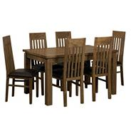 Acacia 'Lund' medium extending table and 6 slatted chairs