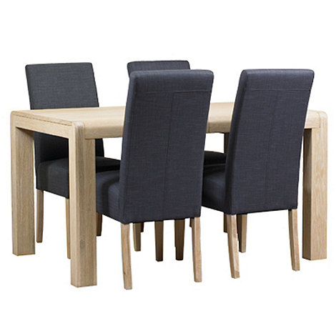 Debenhams - Washed oak +Palma+ large extending table and 4 grey fabric chairs